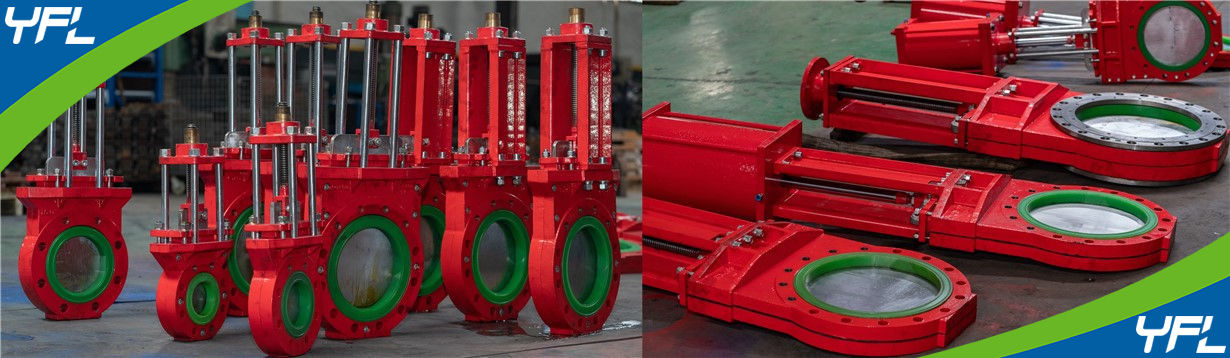 polyurethane(PU)lined knife gate valves for mining slurry